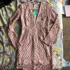 Missguided Baby Pink Lace Cutout Mini Dress - NWT